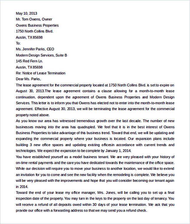 rental termination letter from landlord word format - Rental Lease Termination Letter