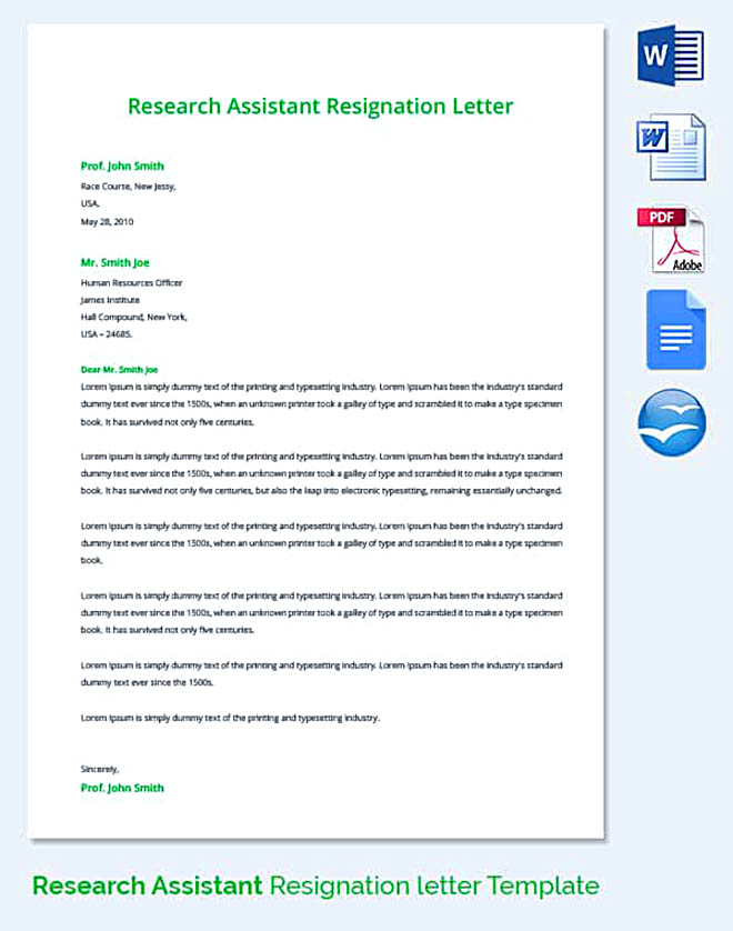 Research Assistant Resignation Letter Template