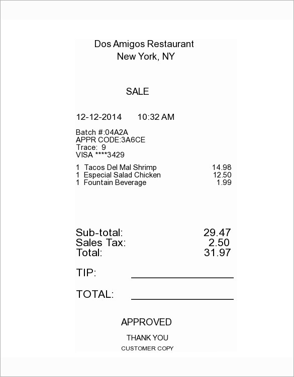 Restaurant Itemized Receipt Template.