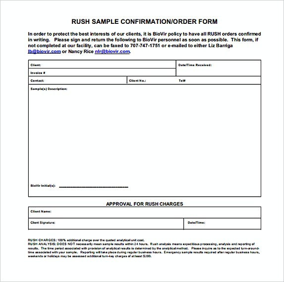Rush Sample Confirmation of Order Form Format
