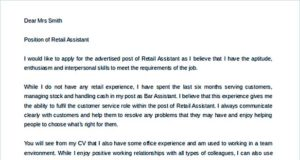 Sales Assistant Cover Letter Template Word Format Download