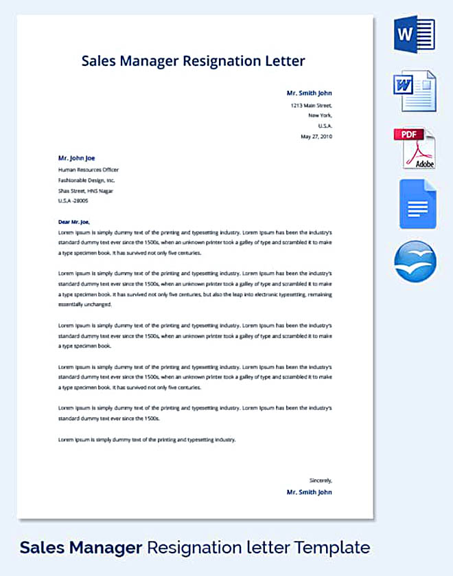 30 letter of resignation template free download sales manager resignation letter template thecheapjerseys Gallery