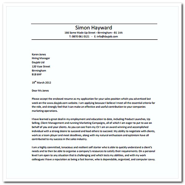 Sales Resume Cover Letter Free PDF Template Download
