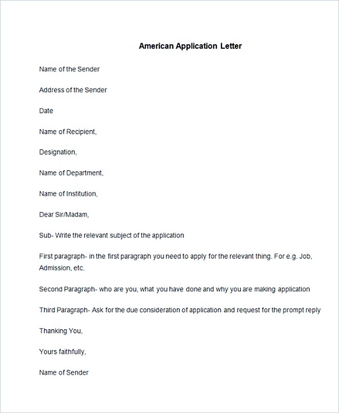 Sample American Application Letter
