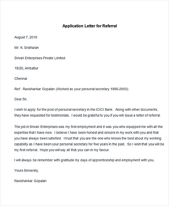 Sample Application Letter for Referral