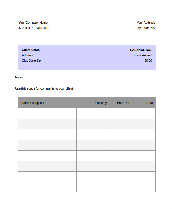 Sample Dj Invoice Template