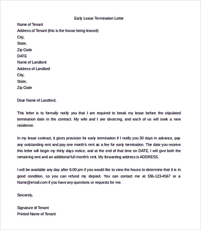 sample early lease termination letter template word download - Landlord Lease Termination Letter Sample