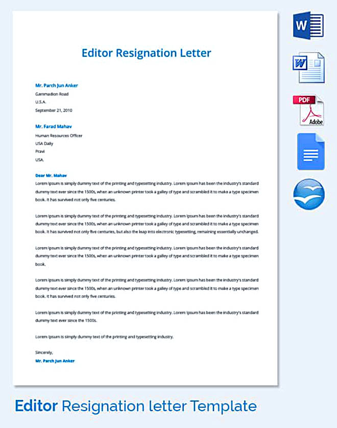 Sample-Editor-Resignation-Letter Offer Withdrawal Letter Template on employee job, employer job, temporary position, simple employee, for temp position, decline job, executive job, executive employment, business purchase, counter proposal,