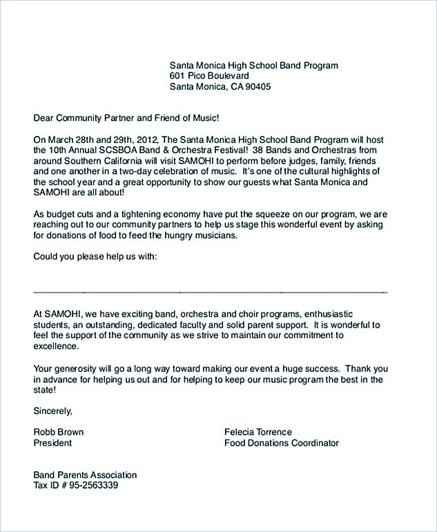 Sample Food Donation Letter