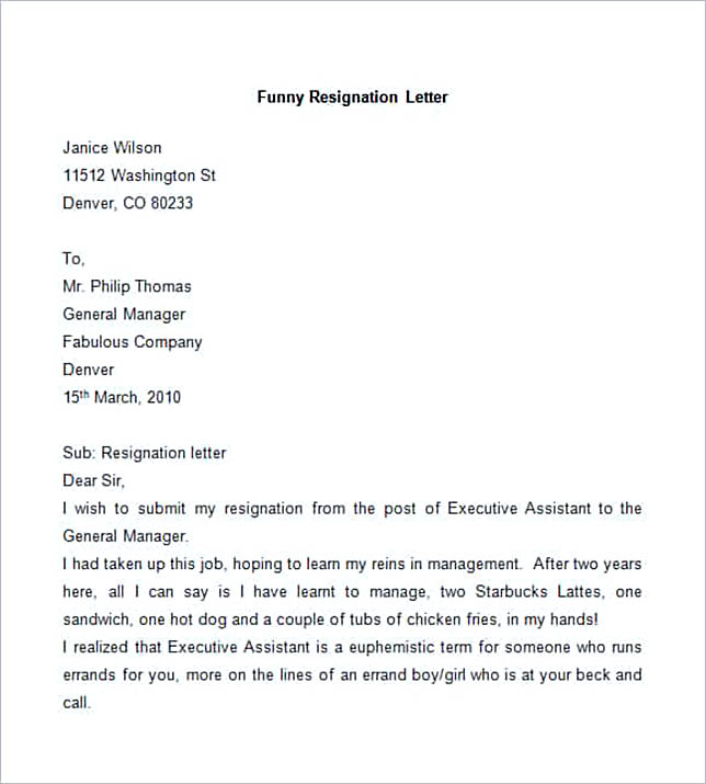 Sample Funny Resignation Letter