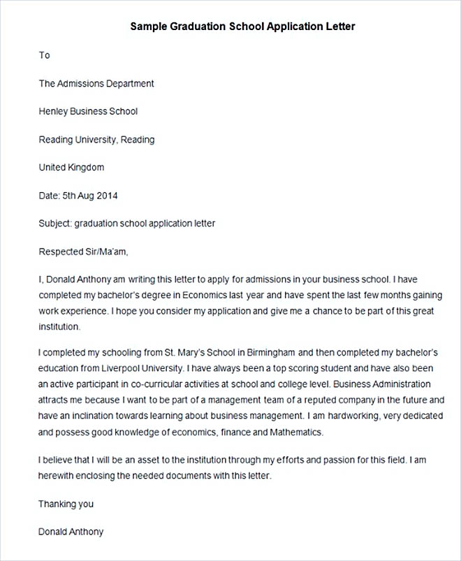 Sample Graduation School Application Letter