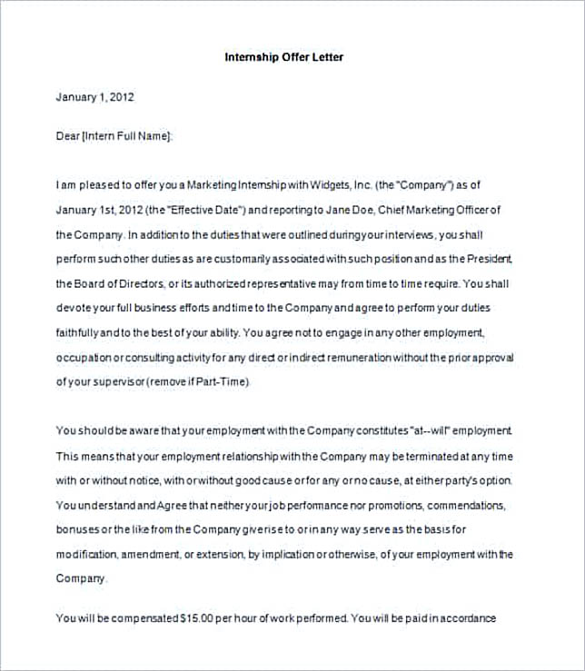 Sample Internship Offer Letter Template