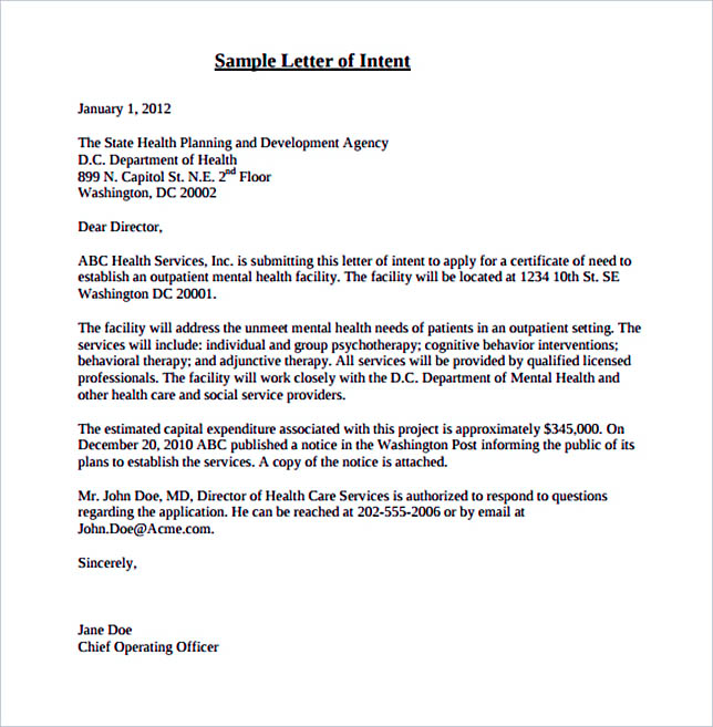 Sample Letter of Intent Certificate of Need Application PDF Format