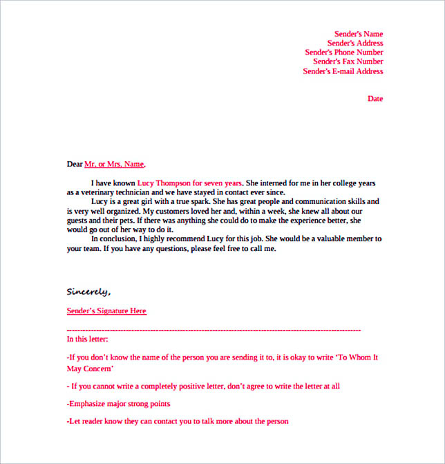 Sample Letter of Reference Template Free PDF Format Download