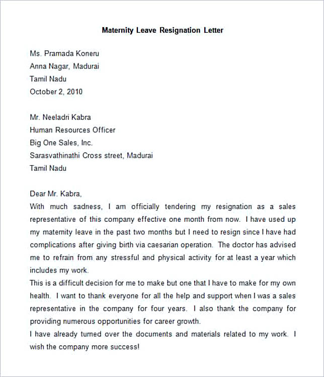 Sample Maternity Leave Resignation Letter