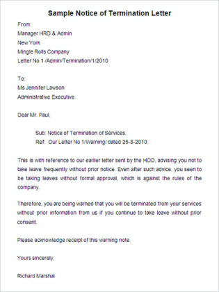 Sample Notice of Termination Letter