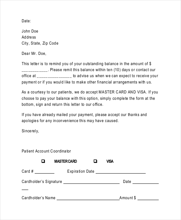 Sample Payment Reminder Letter