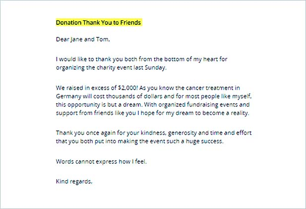 Sample Printable Donation Thank You Letter