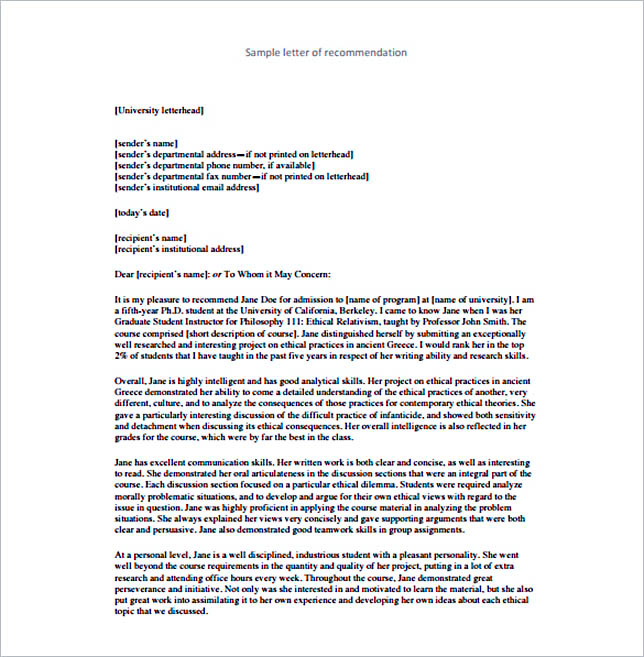 Letter Of Recommendation Format Basic Template To Customize