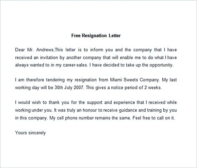 Sample Resignation Letter.