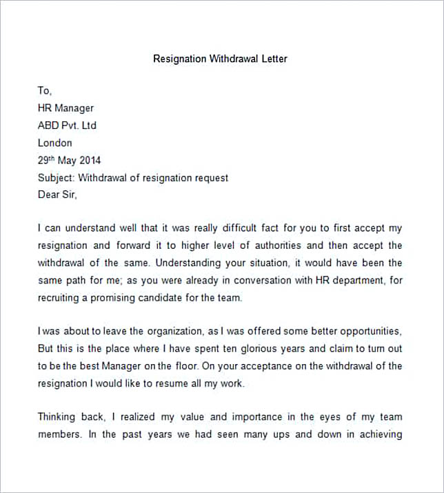 30 letter of resignation template free download sample resignation withdrawal letter spiritdancerdesigns