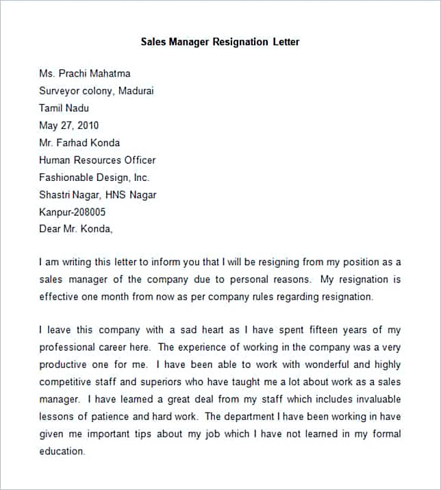 Sample Sales Manager Resignation Letter.