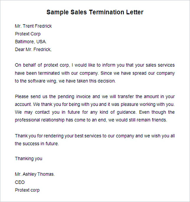 Sample Sales Termination Letter