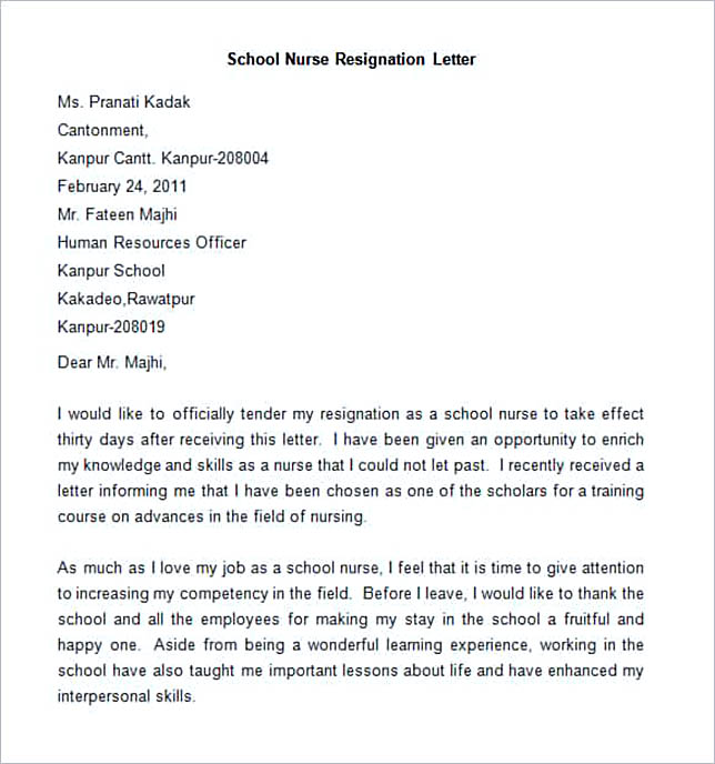 Sample School Nurse Resignation Letter.