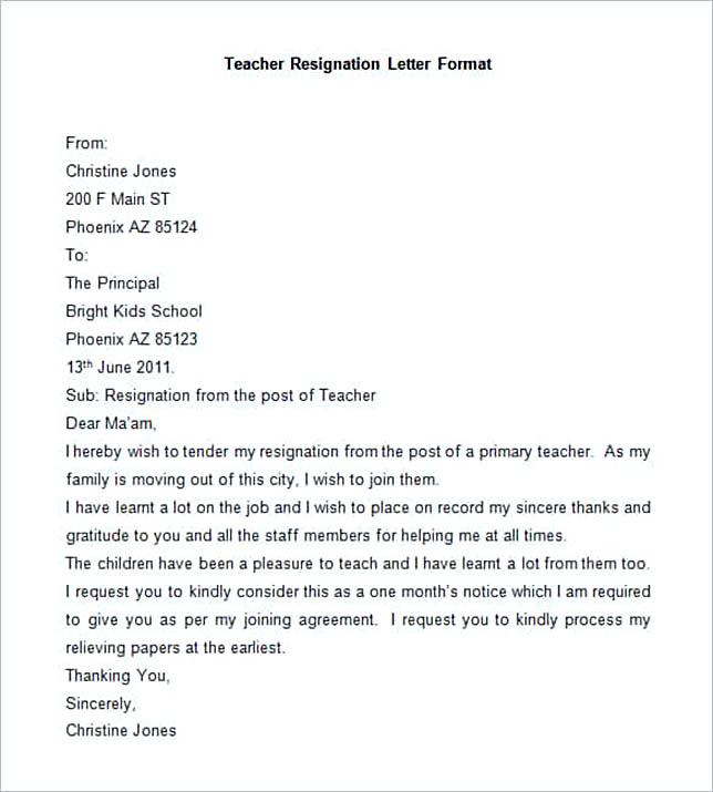 Sample Teacher Resignation Letter Format.