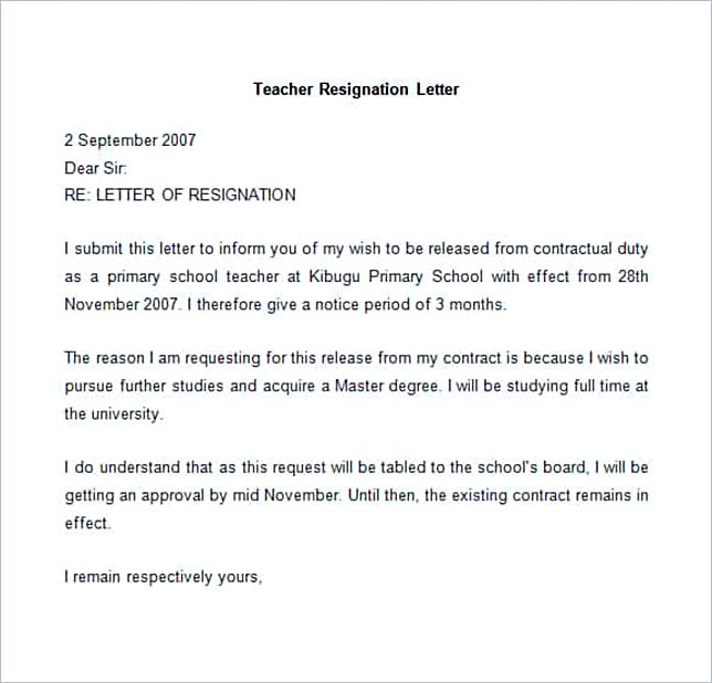 Sample Teacher Resignation Letter.