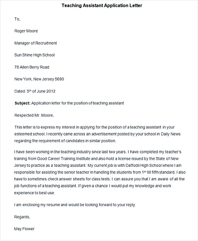 Sample Teaching Assistant Application Letter
