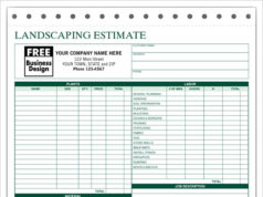 Sample Template For Landscaping Estimate