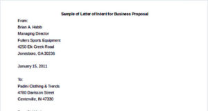 Sample of Letter of Intent for Business Proposal Template Download