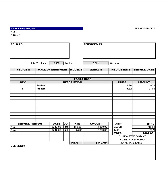Simple Invoice Template Of Service Excel Format Download