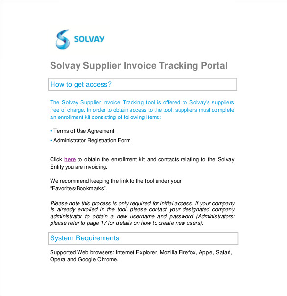 Solvay Supplier Invoice Tracking Guide Free PDF Format Download