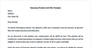 Temporary Position Job Offer Letter Template Free Editable