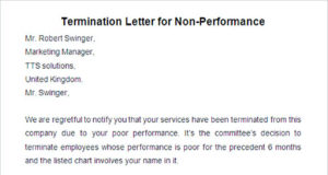 Termination Letter for Non Performance
