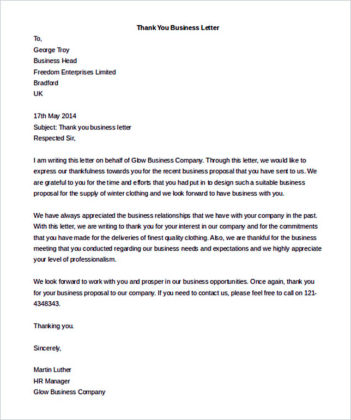 Thank You Business Letter Template Word Download