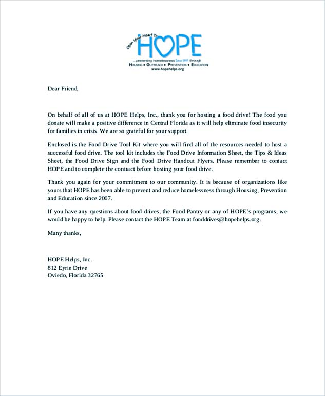 Thank You Letter For Food Donation
