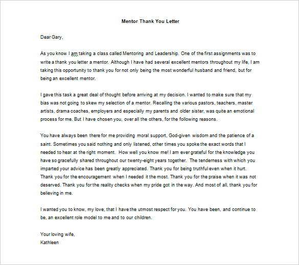 ... Thank You Letter To Mentor Teacher From Student