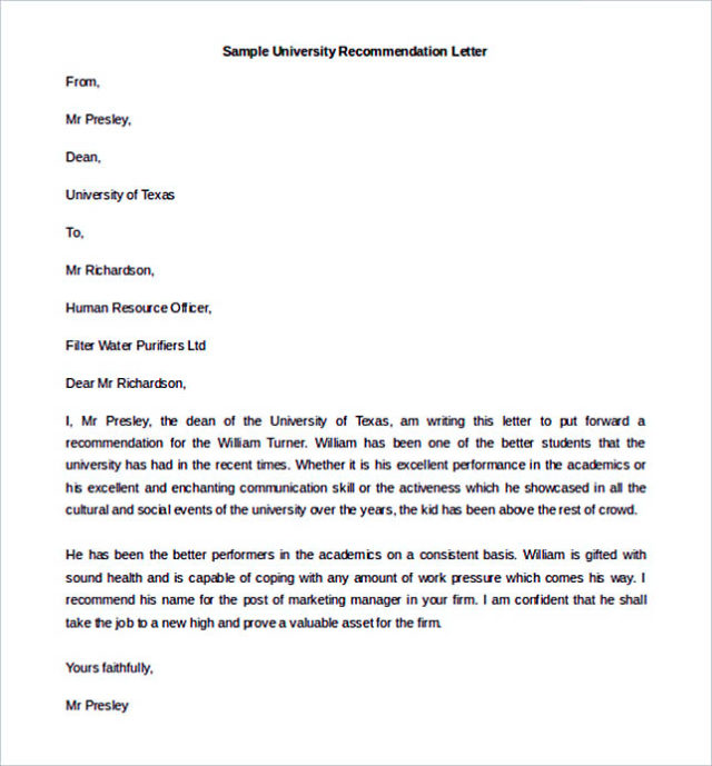 University Recommendation Letter Tempalte Sample Download