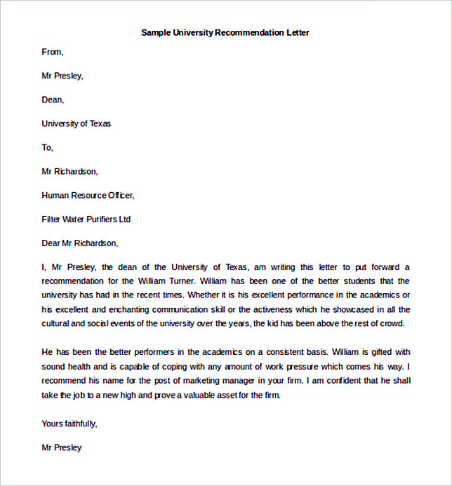 Best recommendation letter template to use university recommendation letter tempalte sample download altavistaventures Image collections