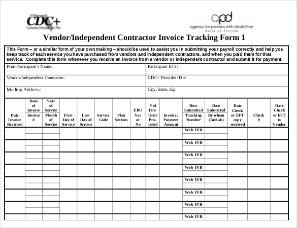 Vendor Independent Contractor Invoice Tracking Form Template Download