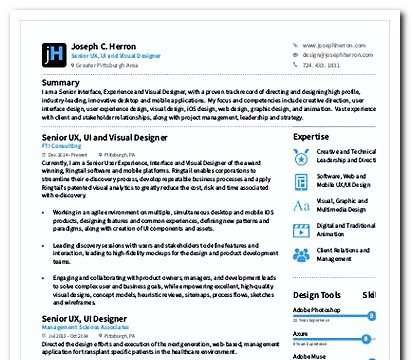 Visual UX Designer Resume