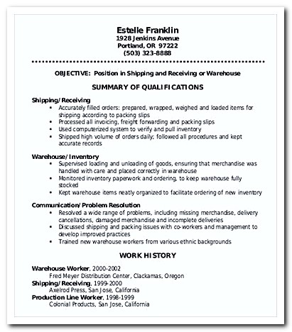 Warehouse Worker Order Picker Resume