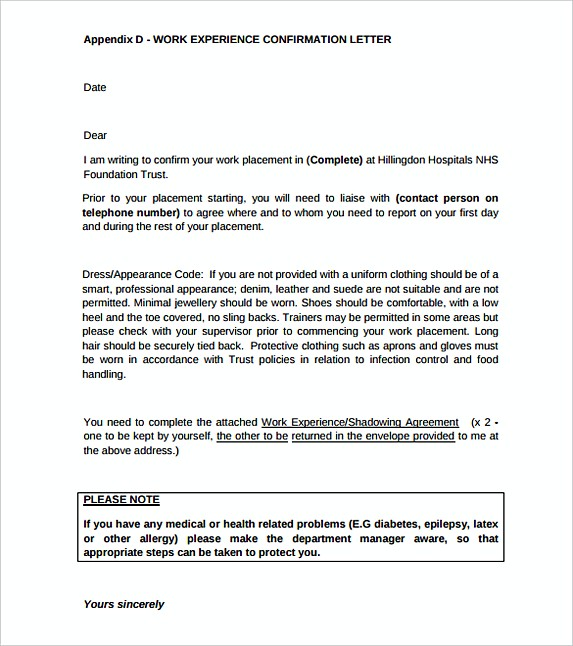Work Experience Confirmation Letter Template Free Printable