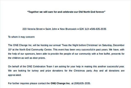 Xmas Party Donation Letter Sample