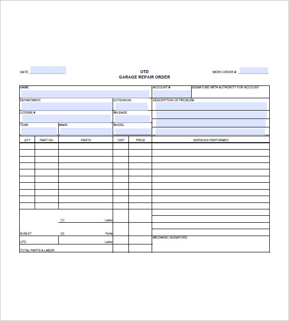 auto repair invoice sample