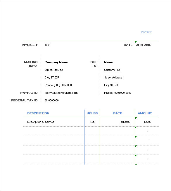 excel hourly invoice template