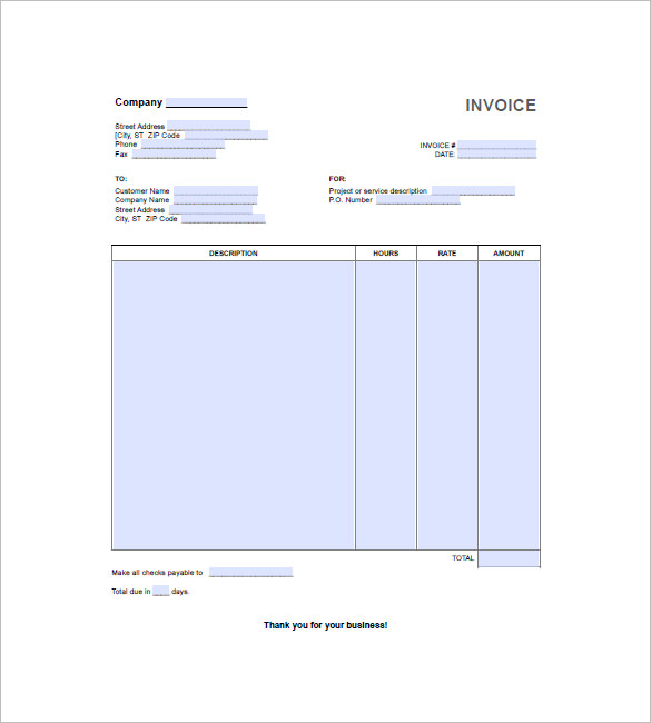 Hourly Invoice Template With Further Description - Work hours invoice template